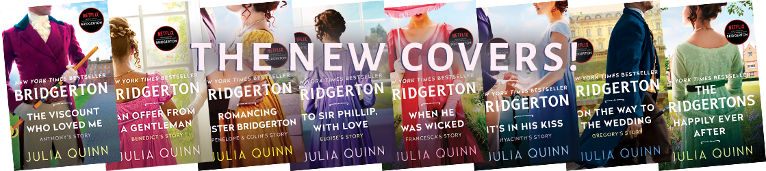 Banner image featuring the 8 new covers for the Bridgerton books